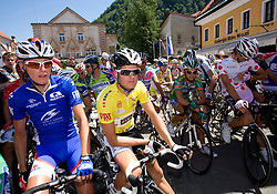 Tomaz Nose (SLO) of Adria Mobil and Jakob Fuglsang (DEN) of Team Saxo Bank  before the start of 2nd stage of Tour de Slovenie 2009 from Kamnik to Ljubljana, 146 km, on June 19 2009, Slovenia. (Photo by Vid Ponikvar / Sportida)