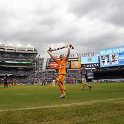 Goalkeeper Luis Robles, New York Red Bulls, celebrates his sides victory during the New York City FC Vs New York Red Bulls, MSL regular season football match at Yankee Stadium, The Bronx, New York,  USA. 28th June 2015. Photo Tim Clayton