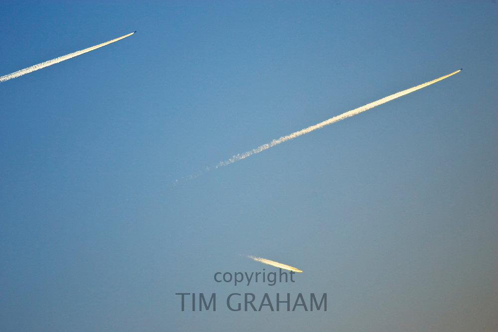 Plane trails over Oxfordshire, United Kingdom