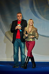 © Licensed to London News Pictures.  30/11/2012. LONDON, UK. Gadget Show presenters Jason Bradbury (not pictured), Pollyanna Woodward (pictured right) and Jon Bentley (pictured left) host a Christmas themed technology show at the Gadget Show Live event at the ExCel centre in London, The event opened today (Friday 30th) and runs until Sunday. . Photo credit :  Cliff Hide/LNP