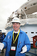 Oasis of the Seas at the shipyard in Turku, Finland where she is being built...Richard Fain, Chairman and CEO Royal Caribbean Cruises LTD