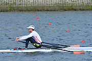 Reading. United Kingdom.  GBR LM1X, Chris BODDY, in the opening strokes of the morning time trial. 2014 Senior GB Rowing Trails, Redgrave and Pinsent Rowing Lake. Caversham.<br /> <br /> 10:11:53  Saturday  19/04/2014<br /> <br />  [Mandatory Credit: Peter Spurrier/Intersport<br /> Images]