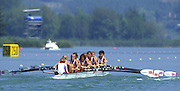 Banyoles, SPAIN, GBR W8+,  Dot BLACKIE , Katharine BROWNLOW , Philippa CROSS , Fiona FRECKLETON , Kate GROSE , Rachel HIRST , Kareen MARWICK , Sue SMITH , Alison PANERSON (c) competing in the 1992 Olympic Regatta, Lake Banyoles, Barcelona, SPAIN. 92 Gold Medalist.   [Mandatory Credit: Peter Spurrier: Intersport Images]