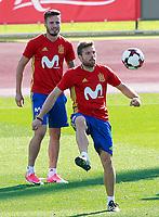 Spain's Saul Niguez (l) and Asier Illarramendi during training session. October 4,2017.(ALTERPHOTOS/Acero)