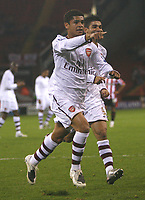 Photo: Steve Bond.<br /> Sheffield United v Arsenal. Carling Cup. 31/10/2007. Denilson celebrates the third goal