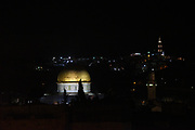 The gilded Dome of the Rock at night, Jerusalem, Old City, Israel
