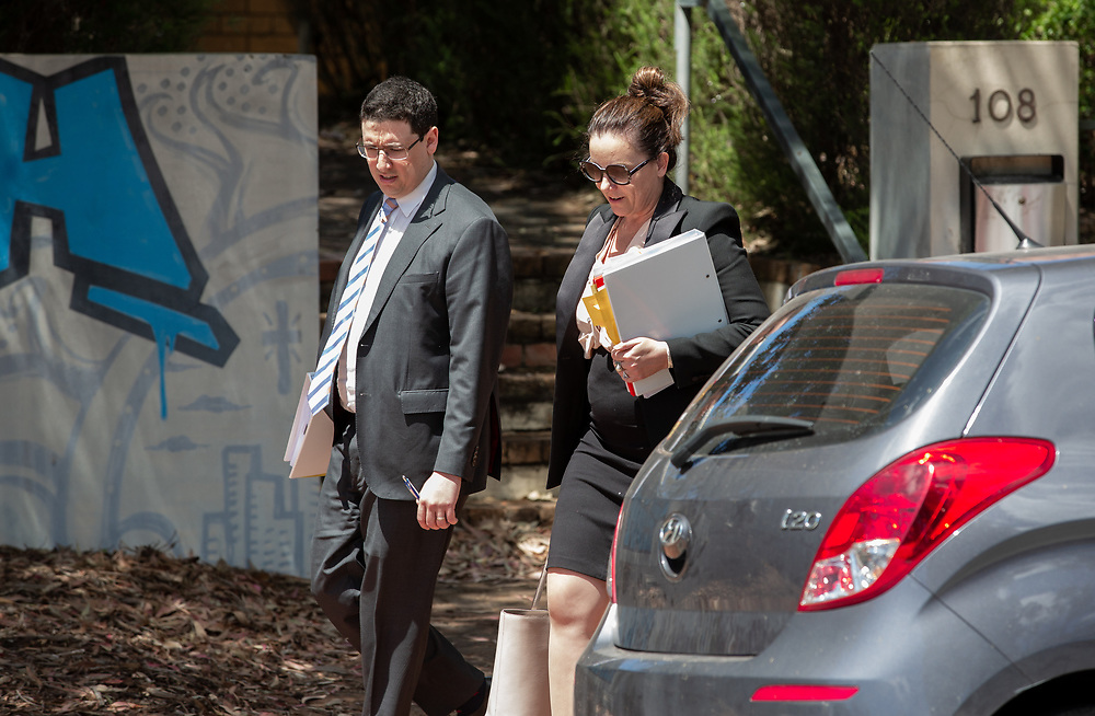 Aaron Plenderleith and Julie Condon QC entering Armadale District Court today for Ben Cousins trial, Wednesday 28 October 2020, pic Tony McDonough
