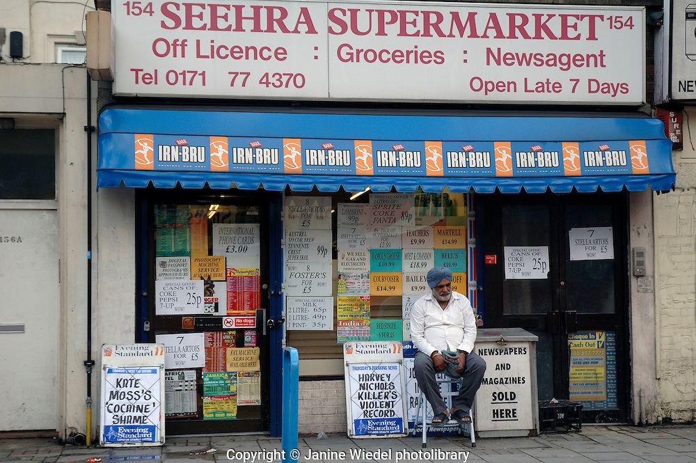 Small Indian supermarket newsagent and off licence in South London.
