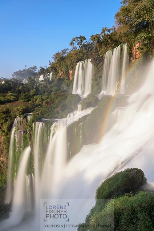 The upper falls of the Iguazu Falls in a long exposure time, Argentina