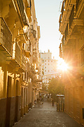 View of old town street at sunrise in Cadiz, Andalusia, Spain
