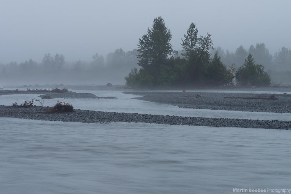 Foggy morning along the Resurrection River near Seward, Alaska
