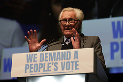© Licensed to London News Pictures. 09/12/2018. London, UK. Michael Heseltine speaks at a People's Vote rally at the Excel Centre in London. MPs will vote on Prime Minister Theresa May's proposed Brexit deal in the coming week. Photo credit: Rob Pinney/LNP