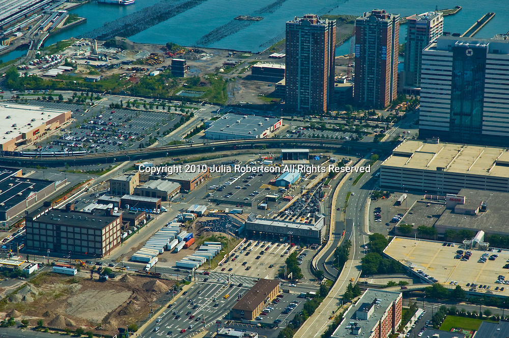 Aerial of Jersey City and Holland Tunnel view towards east towards manhattan,