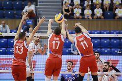 September 12, 2018 - Varna, Bulgaria - Ghafour Amir, Iran, play the ball against, from left to right - Sanchez Sequiel, Colon Jessie and Torres Maurice, Puerto Rico, during Iran vs Puerto Rico, pool D, during 2018 FIVB Volleyball Men's World Championship Italy-Bulgaria 2018, Varna, Bulgaria on September 12, 2018  (Credit Image: © Hristo Rusev/NurPhoto/ZUMA Press)