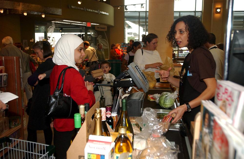 Austin, TX March2005:  Checkout line at Whole Foods's 80,000 square foot landmark store.<br /> ©Bob Daemmrich/