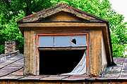Dilapidated building in the Old Town, Riga, Latvia