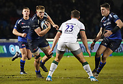 Sale Sharks second-row Jean-Luc Du Preez runs at London Irish's Bryce Campbell during a Gallagher Premiership Rugby Union match won by Sharks 39-0, Friday, Mar. 6, 2020, in Eccles, United Kingdom. (Steve Flynn/Image of Sport)
