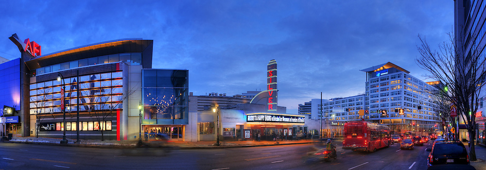 Panorama of downtown Silver Spring, MD featuring AFI Silver Theater and the Discovery Communications building.  Image captured in 2010.  Panorama of Lincoln Memorial looking toward the Washington Monument. <br />