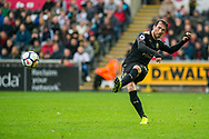 Christian Fuchs of Leicester City in action. Premier league match, Swansea city v Leicester city at the Liberty Stadium in Swansea, South Wales on Saturday 21st October 2017.<br /> pic by Aled Llywelyn, Andrew Orchard sports photography.