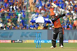 April 29, 2018 - Jaipur, Rajasthan, India - Sunrisers  Hyderabad batsman Alex Hales plays a shot during the IPL T20 match against Rajasthan Royals at Sawai Mansingh Stadium in Jaipur on 29th April,2018. (Credit Image: © Vishal Bhatnagar/NurPhoto via ZUMA Press)