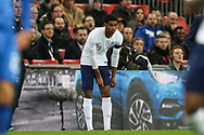 England defender Marcus Rashford (21) prepares to come on as a substitute during the Friendly match between England and Italy at Wembley Stadium, London, England on 27 March 2018. Picture by Toyin Oshodi.
