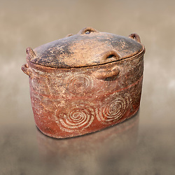 The Minoan clay burial larnax chest with swirl design,  Neopalatial period 1700-1450 BC; Heraklion Archaeological  Museum.