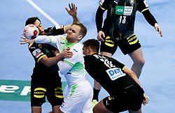 Stas Skube of Slovenia during handball match between National Teams of Germany and Slovenia at Day 2 of IHF Men's Tokyo Olympic  Qualification tournament, on March 13, 2021 in Max-Schmeling-Halle, Berlin, Germany. Photo by Vid Ponikvar / Sportida