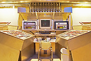 The winery control room with modern control panels in the winery that oversees everything from grape reception to pumping to delivery of the grapes and must to the fermentation tank.  Domaine E Guigal, Ampuis, Cote Rotie, Rhone, France, Europe