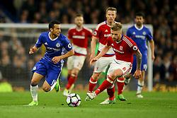 Pedro of Chelsea under pressure from Adam Clayton of Middlesbrough - Mandatory by-line: Jason Brown/JMP - 08/05/17 - FOOTBALL - Stamford Bridge - London, England - Chelsea v Middlesbrough - Premier League