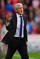 Mark Hughes, the manager of Stoke city reacts. Premier league match, Stoke City v Arsenal at the Bet365 Stadium in Stoke on Trent, Staffs on Saturday 19th August 2017.<br /> pic by Bradley Collyer, Andrew Orchard sports photography.