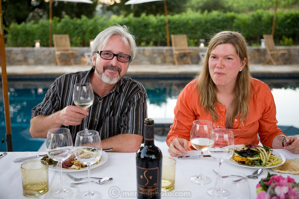 Portrait of Rob & Maria Sinskey. Dinner at Rob and Maria Sinsky's home in the Napa Valley, California.