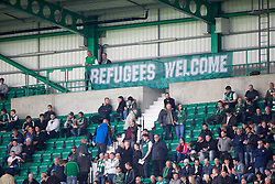 Refugees Welcome banner.<br /> Hibernian 3 v 0 Alloa Athletic, Scottish Championship game played 12/9/2015 at Easter Road.
