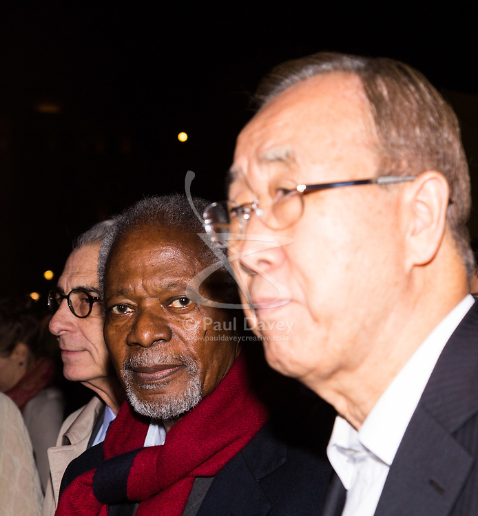 """London, October 23 2017. Nelson Mandela's group of Elders including former UN Secretary General Kofi Annan and Secretary General Ban Ki-moon accompanied by his widow Graca Machel gather at Parliament Square at the start of the Walk Together event in memory of Nelson Mandela before a candlelight vigil at his statue in Parliament Square. """"WalkTogether is a global campaign to inspire hope and compassion, celebrating communities working for the freedoms that unite us"""". PICTURED: Lakhdar Brahimi (L) Kofi Annan, Ban Ki-moon. © Paul Davey"""