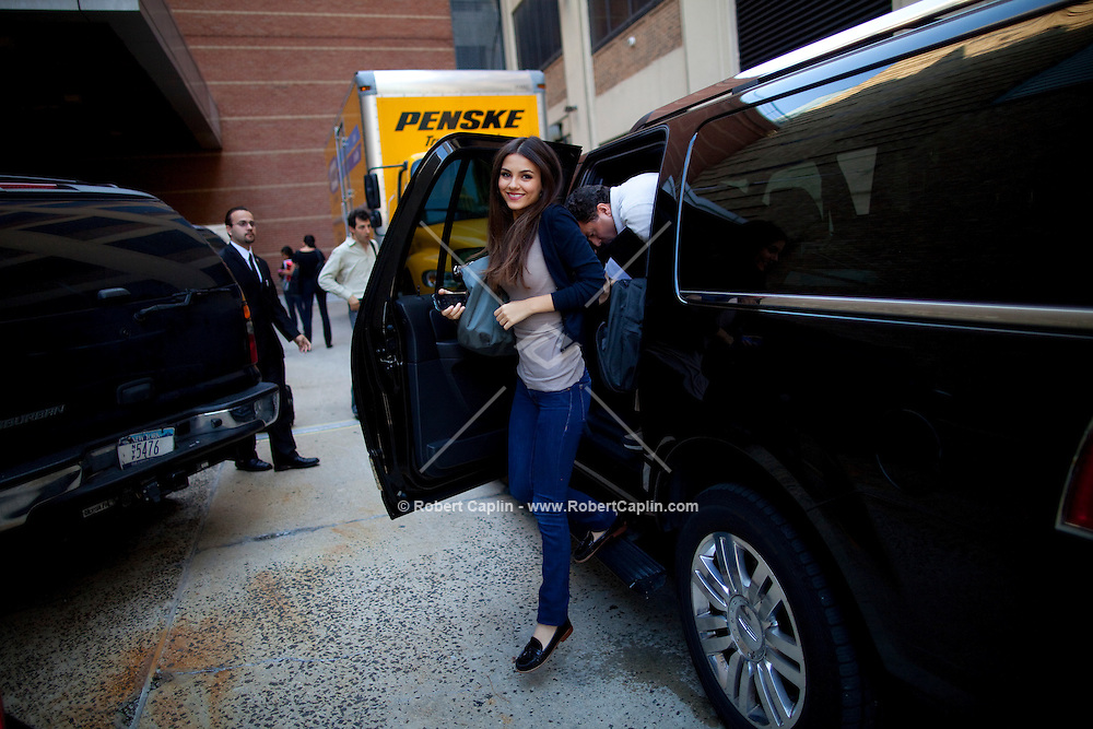 Actress and singer Victoria Justice arrives to the studios of The View in New York prior to performing on the show during Fall Fashion week 2011. ..Photo by Robert Caplin.