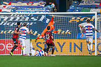 Football - 2020 / 2021 Sky Bet Championship - Queens Park Rangers vs AFC Bournemouth - Kiyan Prince Foundation Stadium<br /> <br /> Yoann Barbet (Queens Park Rangers) forces a fine save from Asmir Begovic (AFC Bournemouth) from a free kick <br /> <br /> COLORSPORT/DANIEL BEARHAM