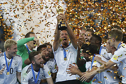 July 3, 2017 - Saint Petersburg, Russia - Germany national team players celebrate with the trophy during award ceremony after FIFA Confederations Cup Russia 2017 final match between Chile and Germany at Saint Petersburg Stadium on July 2, 2017 in Saint Petersburg, Russia. (Credit Image: © Mike Kireev/NurPhoto via ZUMA Press)