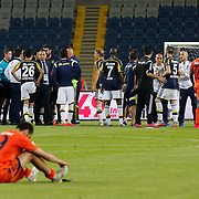 Istanbul Basaksehir's and Fenerbahce's during their Turkish Super League soccer match Istanbul Basaksehir between Fenerbahce at the Basaksehir Fatih Terim Arena at Basaksehir in Istanbul Turkey on Monday, 25 May 2015. Photo by Aykut AKICI/TURKPIX