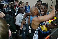 Friidrett, 28. juni 2002, Golden League - Bislett Games, Oslo. Dwain Chambers, England, vant 100 meter foran Maurice Greene, USA
