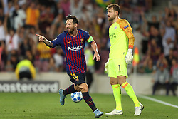 September 18, 2018 - Barcelona, Catalonia, Spain - Lionel Messi of FC Barcelona celebrates after scoring his side's third goal while goalkeeper Jeroen Zoet looks dejected during the UEFA Champions League, Group B football match between FC Barcelona and PSV Eindhoven on September 18, 2018 at Camp Nou stadium in Barcelona, Spain (Credit Image: © Manuel Blondeau via ZUMA Wire)