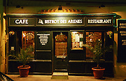 The restaurant Bistrot des Arenes in Nimes, a very traditional Lyon style restaurant. Nimes, Gard, Provence, France, Europe