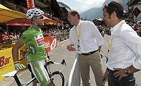 Sykkel<br /> Tour de France 2010<br /> 13.07.2010<br /> Foto: PhotoNews/Digitalsport<br /> NORWAY ONLY<br /> <br /> THOR HUSHOVD - CHRISTIAN PRUDHOMME<br /> <br /> ETAPE 9 : MORZINE AVORIAZ - SAINT-JEAN-DE-MAURIENNE