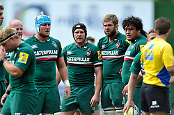 Leicester Tigers forwards look on during a break in play - Photo mandatory by-line: Patrick Khachfe/JMP - Tel: Mobile: 07966 386802 - 08/09/2013 - SPORT - RUGBY UNION - Welford Road Stadium - Leicester Tigers v Worcester Warriors - Aviva Premiership.