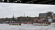 Putney, London, University Boat Race, Oxford UBC left as both crews approach Hammersmith Bridge during  the 156th Race, on the Championship Course Putney to Hammersmith  Saturday  03/04/2010 [Mandatory Credit Peter Spurrier/ Intersport Images]  <br /> <br /> CUBC Crew, Bow - Rob WEITEMEYER, Geoff ROTH, George NASH, Peter McCELLAND, Deaglan McEACHERN, Henry PELLY, Derek RASMUSSEN, Stroke - Fred GILL and Cox - Ted RANDOLPH<br /> <br /> OUBC crew, Bow - Ben MYERS, Martin WALSH, Tyler WINKLEVOSS, Cameron WINKLEVOSS, Sjoerd HAMBURGER, Matt EVANS, Simon GAWLIK, Stroke - Charlie BURKITT and Cox - Adam BARHAMAND