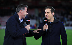 Sky Sports commentators Jamie Carragher (left) and Gary Neville before the Premier League match at the Vitality Stadium, Bournemouth.