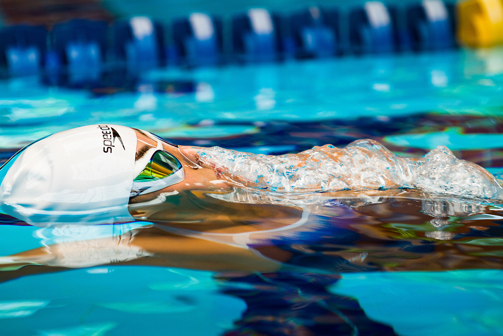 Feernanda Gonzalez emerges to the surface of the water swimming backstroke style at La Loma training center in San Luis Potosí, México.<br /> Client: Speedo