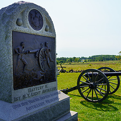 Gettysburg, PA, USA - September 6, 2020: Memorial to Battery K, 1st NY Light Artillery, in the Gettysburg National Military Park.
