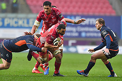 Uzair Cassiem of Scarlets in action during todays match<br /> <br /> Photographer Craig Thomas/Replay Images<br /> <br /> Guinness PRO14 Round 11 - Scarlets v Edinburgh - Saturday 15th February 2020 - Parc y Scarlets - Llanelli<br /> <br /> World Copyright © Replay Images . All rights reserved. info@replayimages.co.uk - http://replayimages.co.uk