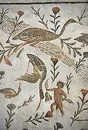 Picture of a Roman mosaics design depicting a Nile scene with birds and pigmies, from the ancient Roman city of Thysdrus, Bir Zid area. 2nd century AD, . El Djem Archaeological Museum, El Djem, Tunisia. .<br /> <br /> If you prefer to buy from our ALAMY PHOTO LIBRARY Collection visit : https://www.alamy.com/portfolio/paul-williams-funkystock/roman-mosaic.html . Type - El Djem - into the LOWER SEARCH WITHIN GALLERY box. Refine search by adding background colour, place, museum etc<br /> <br /> Visit our ROMAN MOSAIC PHOTO COLLECTIONS for more photos to download as wall art prints https://funkystock.photoshelter.com/gallery-collection/Roman-Mosaics-Art-Pictures-Images/C0000LcfNel7FpLI