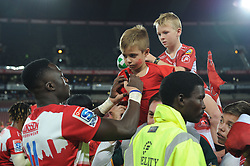 070418 Emirates Airlines Park, Ellis Park, Johannesburg, South Africa. Super Rugby. Lions vs Stormers. Madosh Tambwe signs a young fans T-shirt during a meet and greet after the game before embarking on the Lions away tour.<br />Picture: Karen Sandison/African News Agency (ANA)