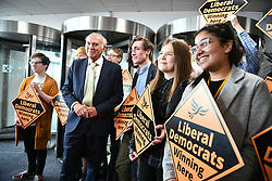 © Licensed to London News Pictures. 18/09/2018. Brighton, UK.  Liberal Democrat leader VINCE CABLE arrives for leaders speech on the final day of the Liberal Democrat Autumn Conference in Brighton, East Sussex on September 18, 2018. This years event has been mainly focused around Brexit, the UK's departure from the EU. Photo credit: Ben Cawthra/LNP